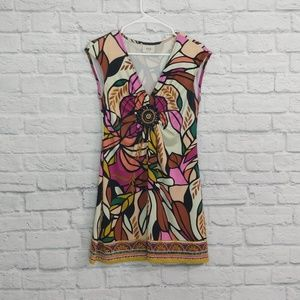 eci | Abstract Print Dress with Bead Detail